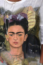 Vintage Frida Kahlo Lifelike Black Cat Monkey Leaf Print Half Sleeves Blouse