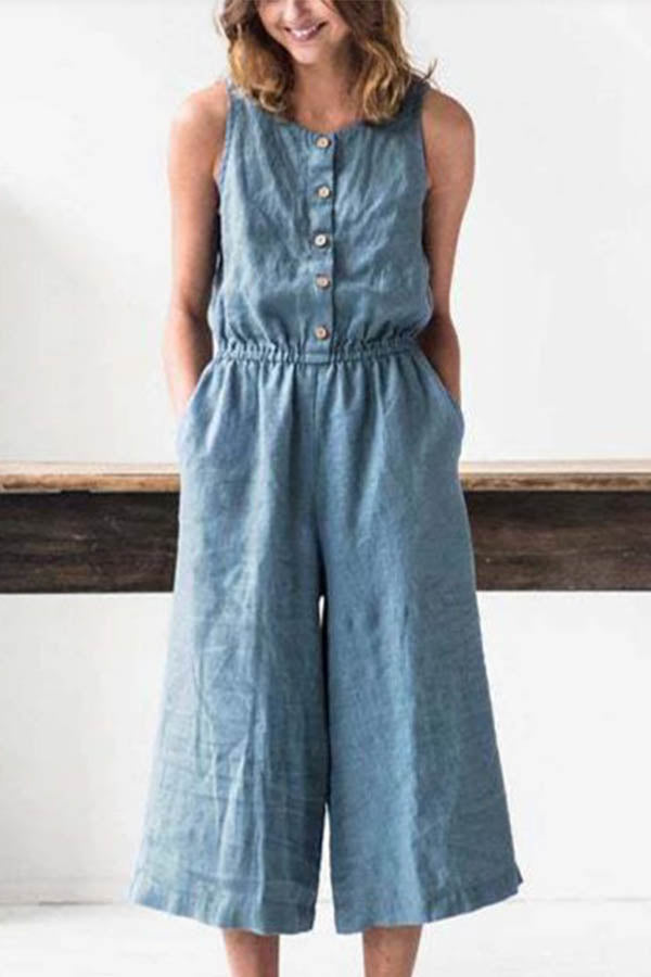 Solid Buttoned Sleeveless Self-tie Paneled Pockets 3/4 Length Wide Leg Jumpsuit