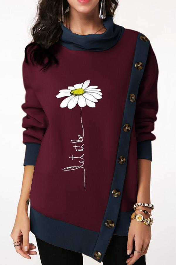Color Block Floral Irregular Buttoned Sweatshirt