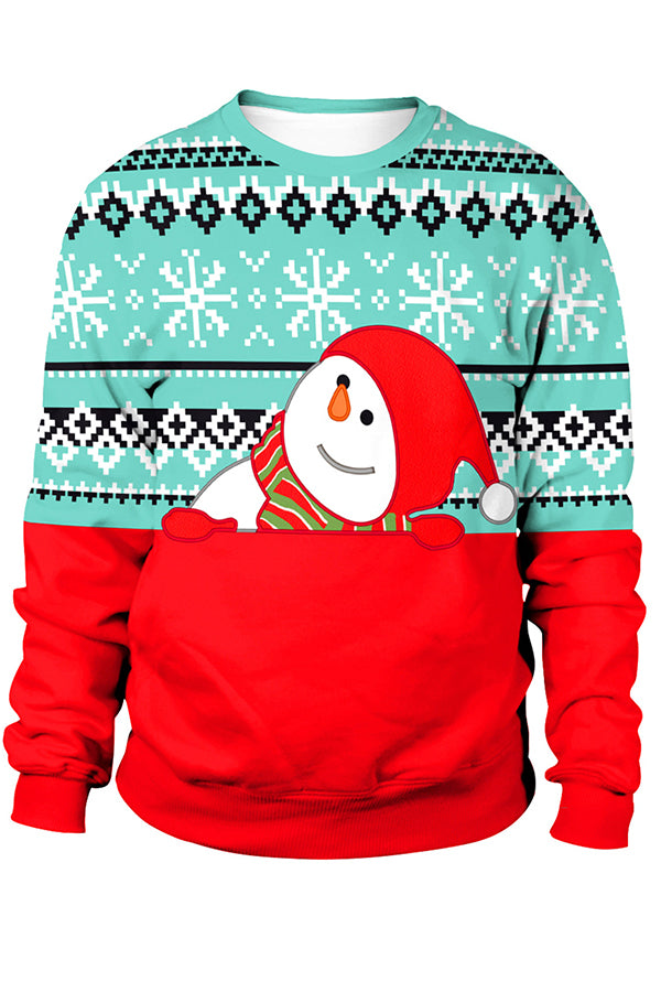 Christmas Color-block Snowman With Hat Snowflake Jacquard Sweatshirt