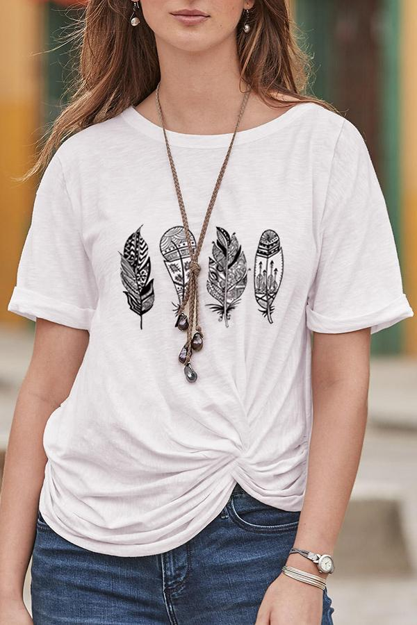 Leaf Print Crew Neck Paneled Casual T-shirt