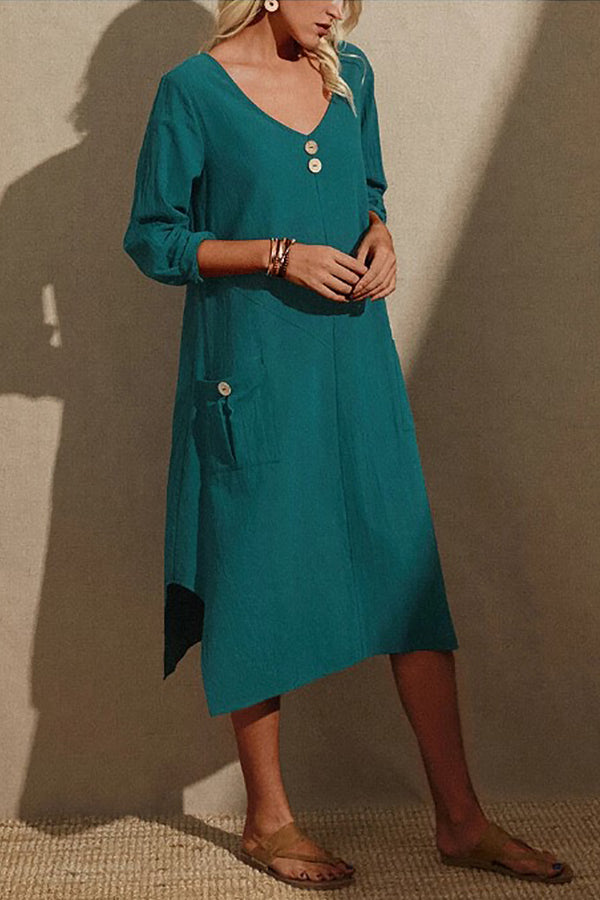 Vintage Green Buttoned V-neck Notch Hem Midi Dress