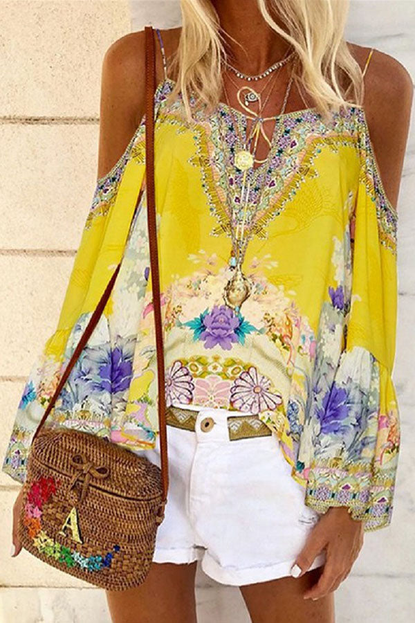 Bohemian Floral Print Cold Shoulder Spaghetti Bell Sleeves Blouse