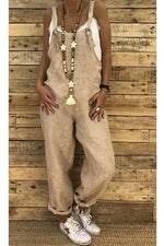 Solid Paneled Sling Casual Pockets Jumpsuits