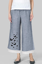 Butterflies Printed Frog Button Pants
