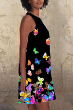 Butterfly Print Sleeveless Crew Neck Holiday Mini Dress