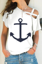Graphic Print One Shoulder Cross Front Casual T-shirt