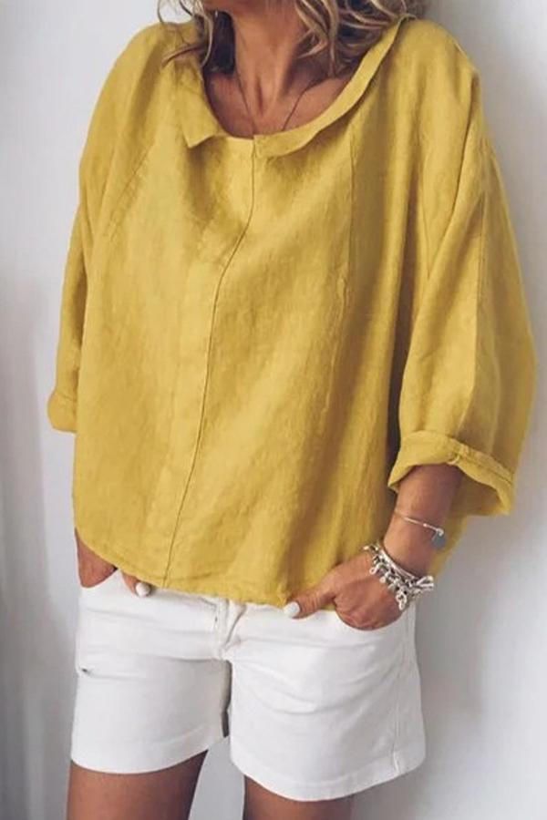 Solid Loose Long Sleeves Shift Blouses