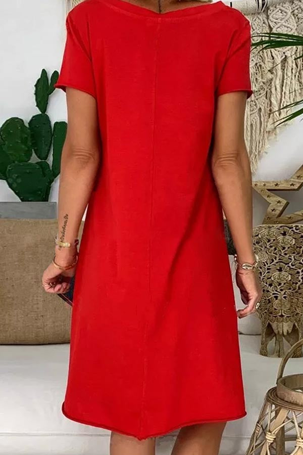 Solid Paneled Casual V-neck Short Sleeves Midi Dress