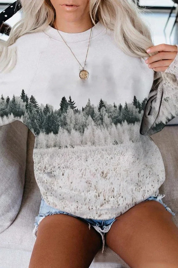 Winter Snowfield Landscape Forest Jacquard Holiday T-shirt