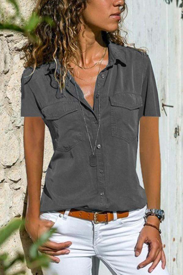 Solid Pockets Buttoned Casual Short Sleeve Blouses