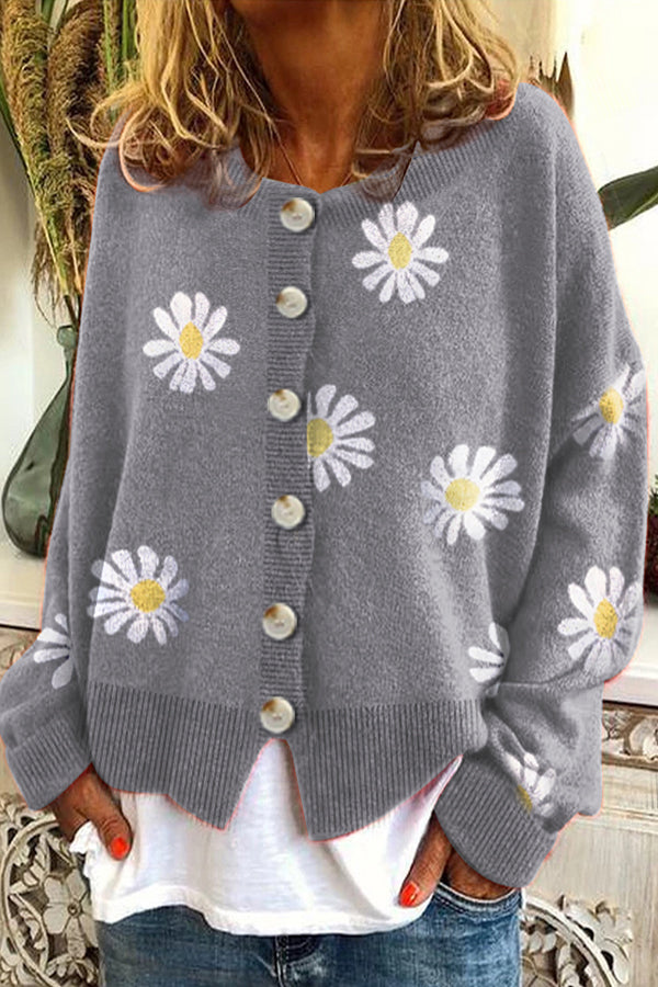 Daisy Jacquard Knitted Ribbed Paneled Buttons Down Holiday Cardigan