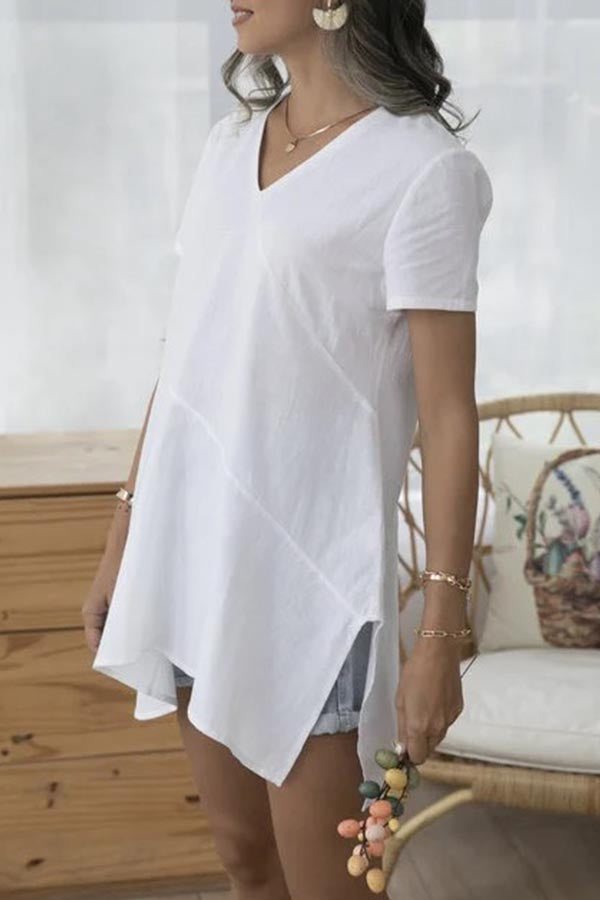 Paneled V-neck Irregular Slit Hem Casual Solid T-shirt