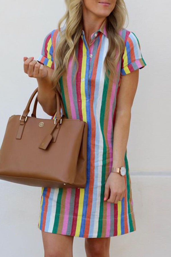 Colorful Striped Print Buttoned Shirt Collar Holiday Mini Dress