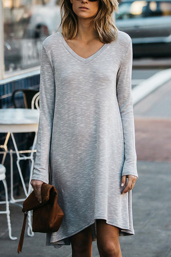 Paneled Striped Print V-neck Casual Midi Dress