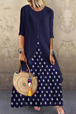 Vintage Fake Two-pieces Polka Dots Print Irregular Hem Maxi Dress