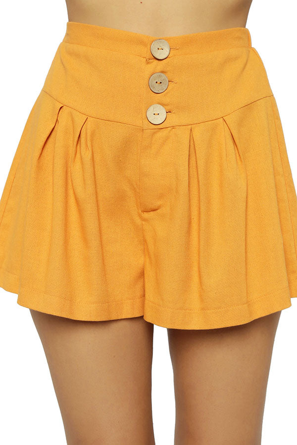 Casual Wide Leg Buttoned Solid Short Pants