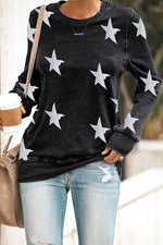 Casual Skull Star Mouth Print Paneled Crew Neck T-shirt