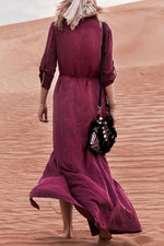 Holiday Solid Buttons Down Self-tie V-neck Maxi Dress