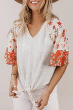 Floral Print Paneled Ribbed Tie Curved Hem Casual Blouse