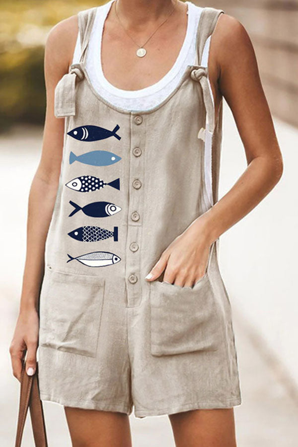 Casual Fish Print Buttoned Lace Sleeveless Paneled Pockets Romper