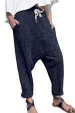 Solid Side Pockets Drawstring Casual Pants