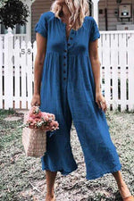 Paneled Solid Buttoned Casual Wide Leg Jumpsuits