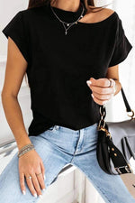 Asymmetric Cold Shoulder Paneled Casual Short Sleeves T-shirt