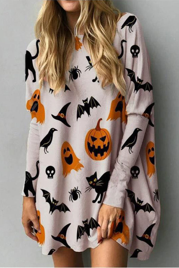 Halloween Black Cat Pumpkin Bat Ghost Spider Cartoon Print Wave Hem Mini Dress