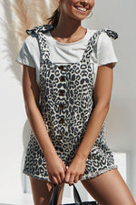 Leopard Print Buttoned Tie Backless Holiday Romper