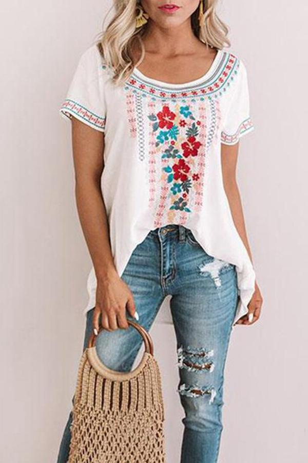 Floral Crew Neck Short Sleeve Casual T-shirts