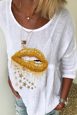 Mouth Star Print Crew Neck Half Sleeves Casual T-shirt