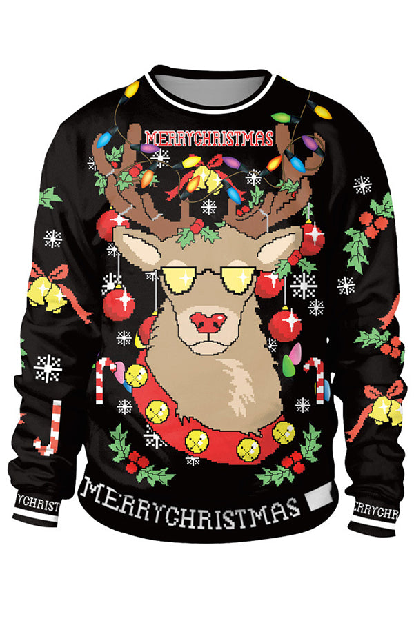 Merry Christmas Cartoon Deer With Glasses Decoration Snowflake Jacquard Sweatshirt