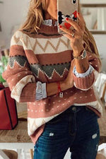 Geometric Jacquard Paneled Knitted Ribbed Casual Sweaters
