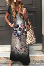 V-neck Skull Floral Print Holiday Gradient Maxi Dress