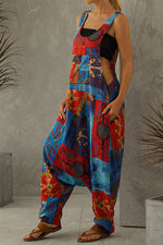 Vintage Artistic Abstract Graphic Print Color Painting Harem Jumpsuit