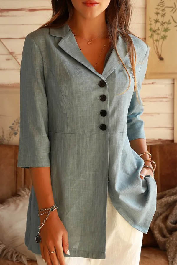 Business Solid Buttoned Lapel Collar 3/4 Sleeves Coat