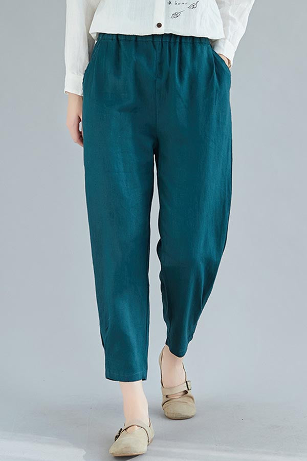 Solid Pockets Casual Mid Waist Casual Harem Pants