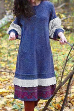 Holiday Color-block Paneled Lace Balloon Sleeves Sweater Dress