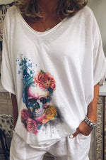 Skull Floral Print Casual V-neck Half Sleeves T-shirt