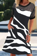 Paneled Mesh Zebra Print See-through Look A-line Casual Midi Dress