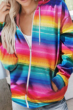 Rainbow Gradient Print Zipper Front Hooded Drawstring Coat