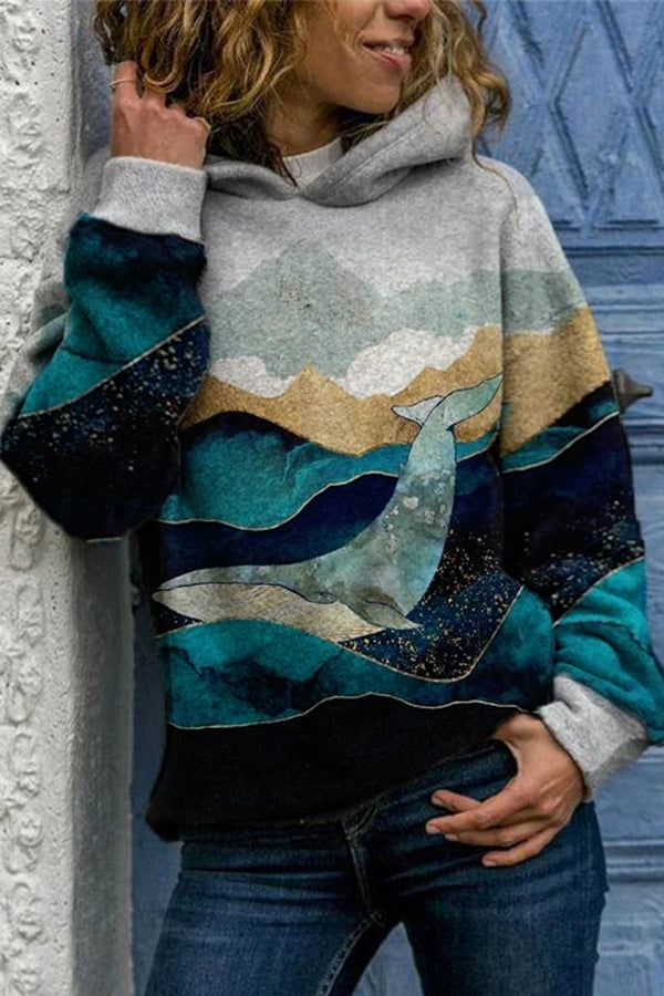 Abysmal Sea Whale Mountain Moon Landscape Jacquard Vintage Hoodie