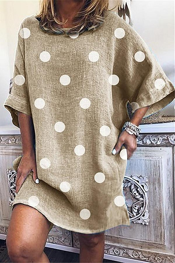 Polka Dots Half Sleeve Shift Midi Dress