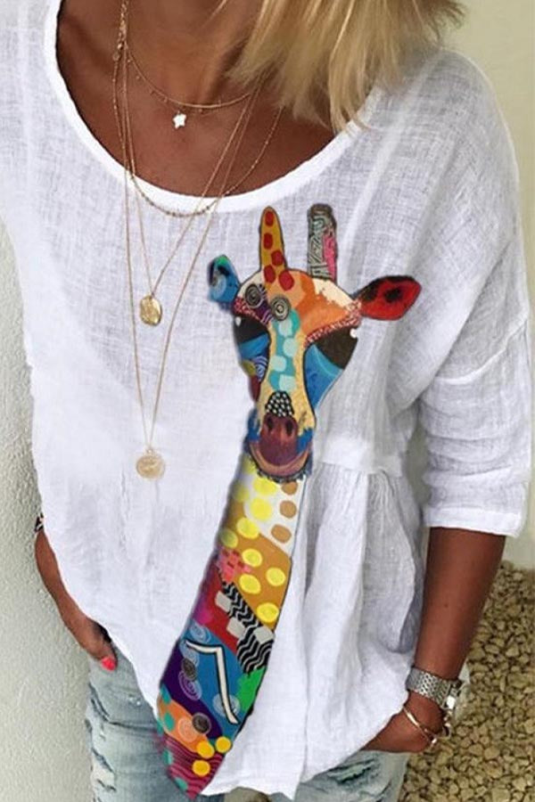 Cartoon Print Hollow Out Casual Half Sleeves Blouse