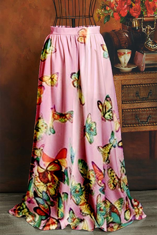Butterfly Print Paneled Elastic Holiday Maxi Skirt