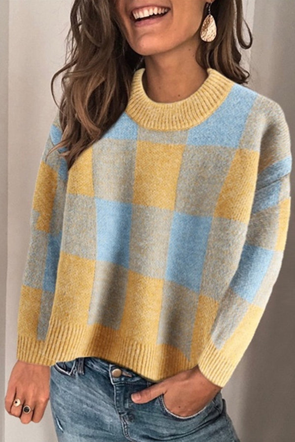 Bright Fresh Color Plaid Jacquard Knitted Ribbed Casual Sweater