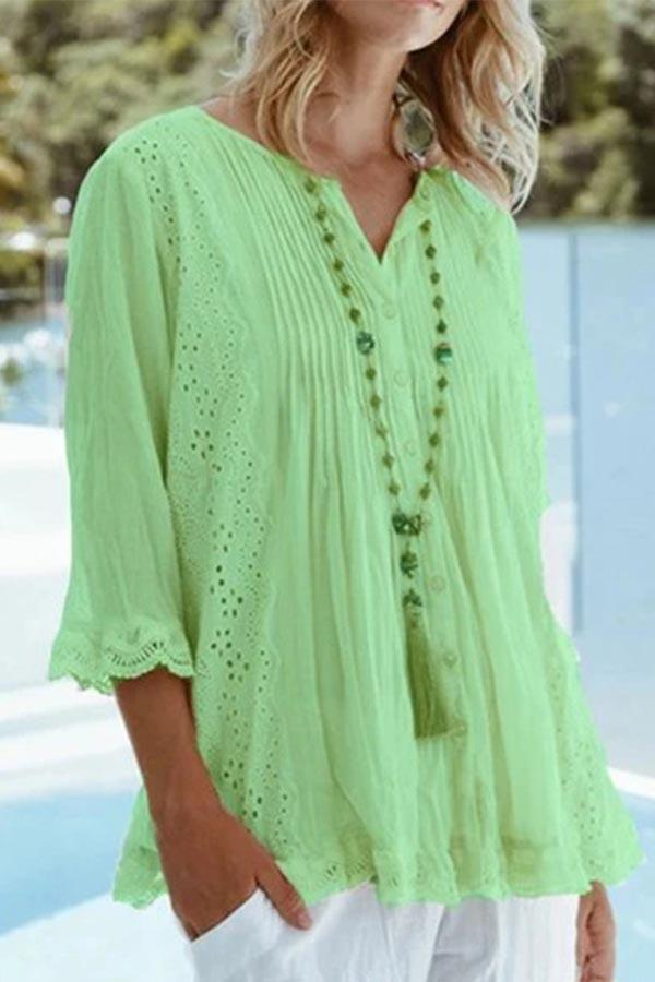 Solid Loose Cutout Buttoned Shift Blouse