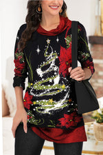 Color-block Christmas Tree Floral Print Pile Neck Holiday Blouse
