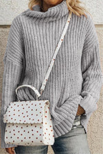 Daily Wear Knitted Ribbed Weave Turtleneck Solid Sweater